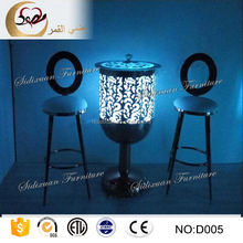 indoor round shape tempered glass top light up bar counter table