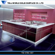 Luxury indoor bar design man-made/stone solid surface salon color bar furniture