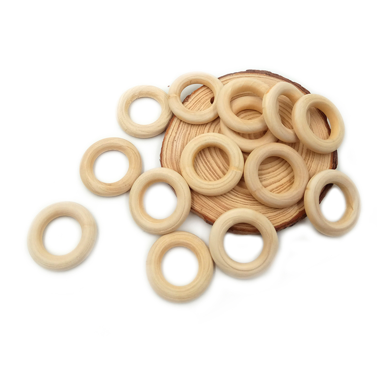 30mm Nature Organic Wooden Ring For Infant Teething Toy Accessories Necklace Baby Teether