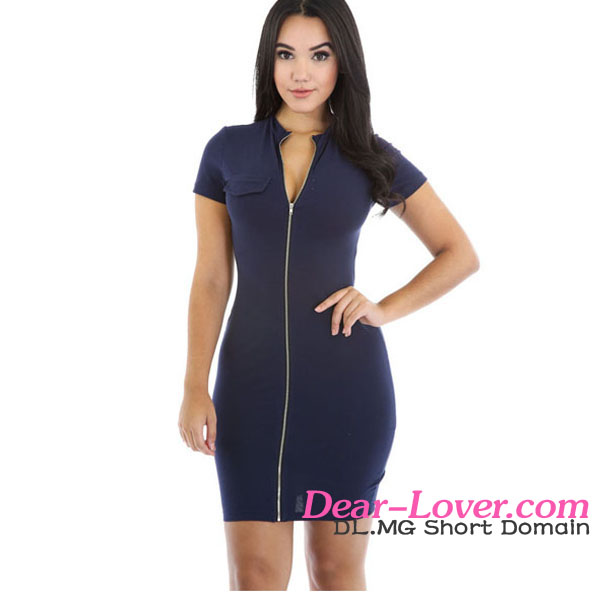 New Arrival Wholesale Navy Blue Funky Zip Girl Party Dress