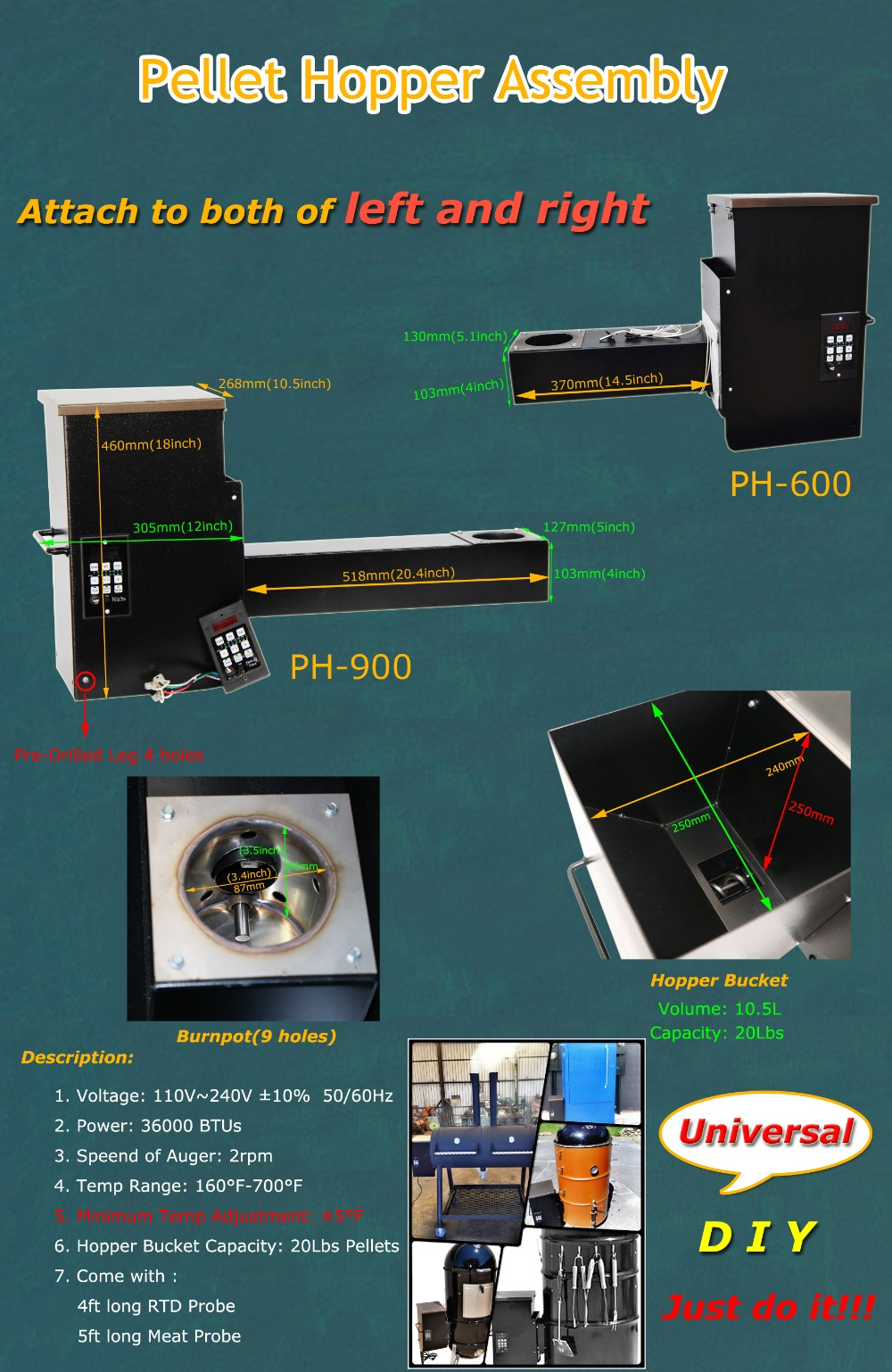 14'' Universal Pellet Hopper Assembly with PID controller