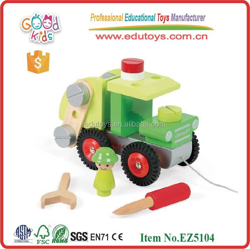 new item wooden tractor toy conbination kids toys wooden OEM creative tractor toy EZ5104