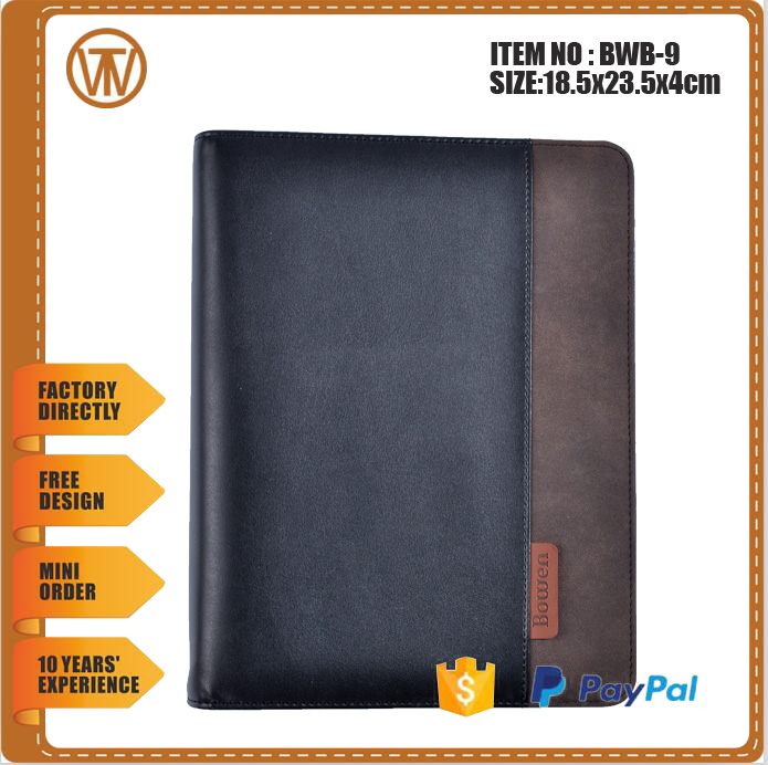 BWB-9 Business brown daily 3 ring binder leather planner/PU Leather Cover Planner Diary