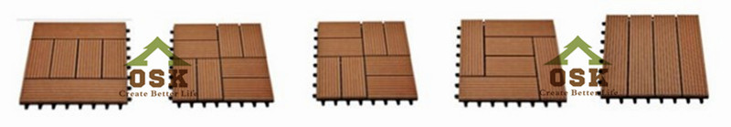 different types 300*300mm DIY wpc tiles /wpc composite decking flooring