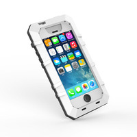 brand Shockproof Waterproof Dropproof aluminum Gorilla Glass hard case for iphone 5 5s