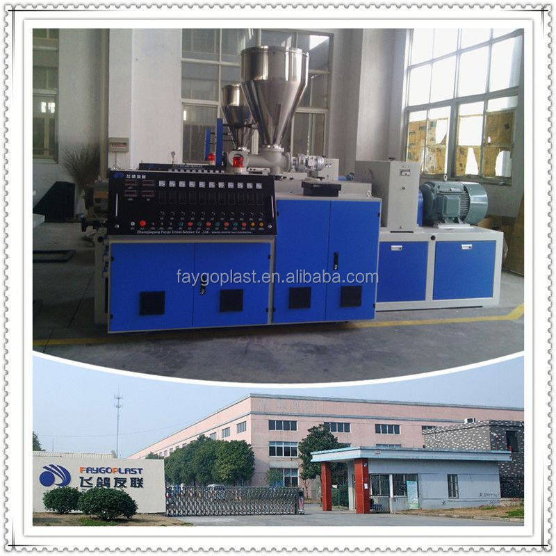 conical twin screw pvc groove extruder line