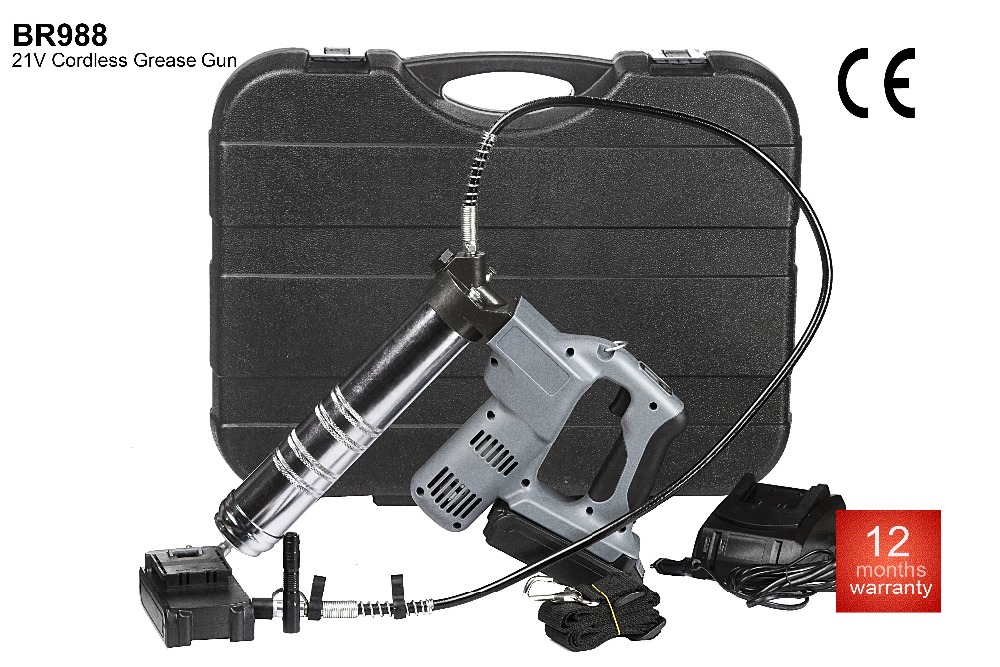 21V Lithium-ion Cordless/Accu Grease Gun 20 cartridges pump