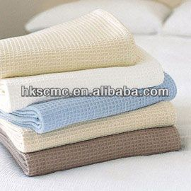 High Quality White Cotton Waffle Hospital Blanket