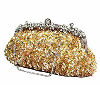 Hot Sale Online Shop China Rhinestone Crystal Gold Sequins Clutch Bag