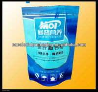 Plastic stand up zipper bag with window/hole for tobacco