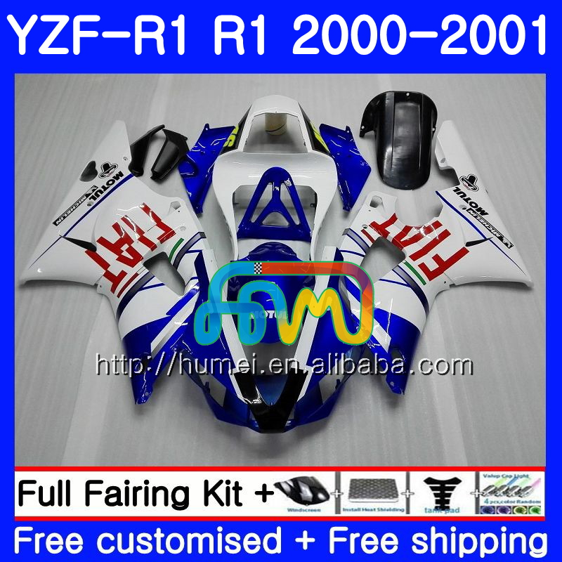 Body For YAMAHA YZF R 1 YZF 1000 YZF-<strong>R1</strong> <strong>00</strong>-<strong>01</strong> Bodywork 98HM15 YZF1000 blue white YZF-1000 YZF <strong>R1</strong> <strong>00</strong> <strong>01</strong> YZFR1 2000 2001 Fairing