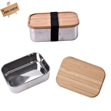 No Plastic Stainless Steel School Bamboo Lid For Kids Lunch Box Bento Rectangle Shape Vegetable Food Storage Container