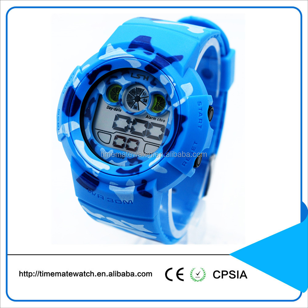 Bright color customized logo silicone strap chirstmas gifts digital type man watch for sutdents