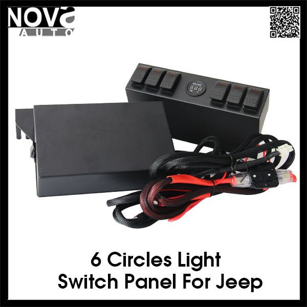 Car accessories 12V 6 Gang Led Rocker Swtich Panel
