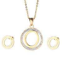 Costume jewelry necklace and earrings sets fashion letter O pendant jewelry