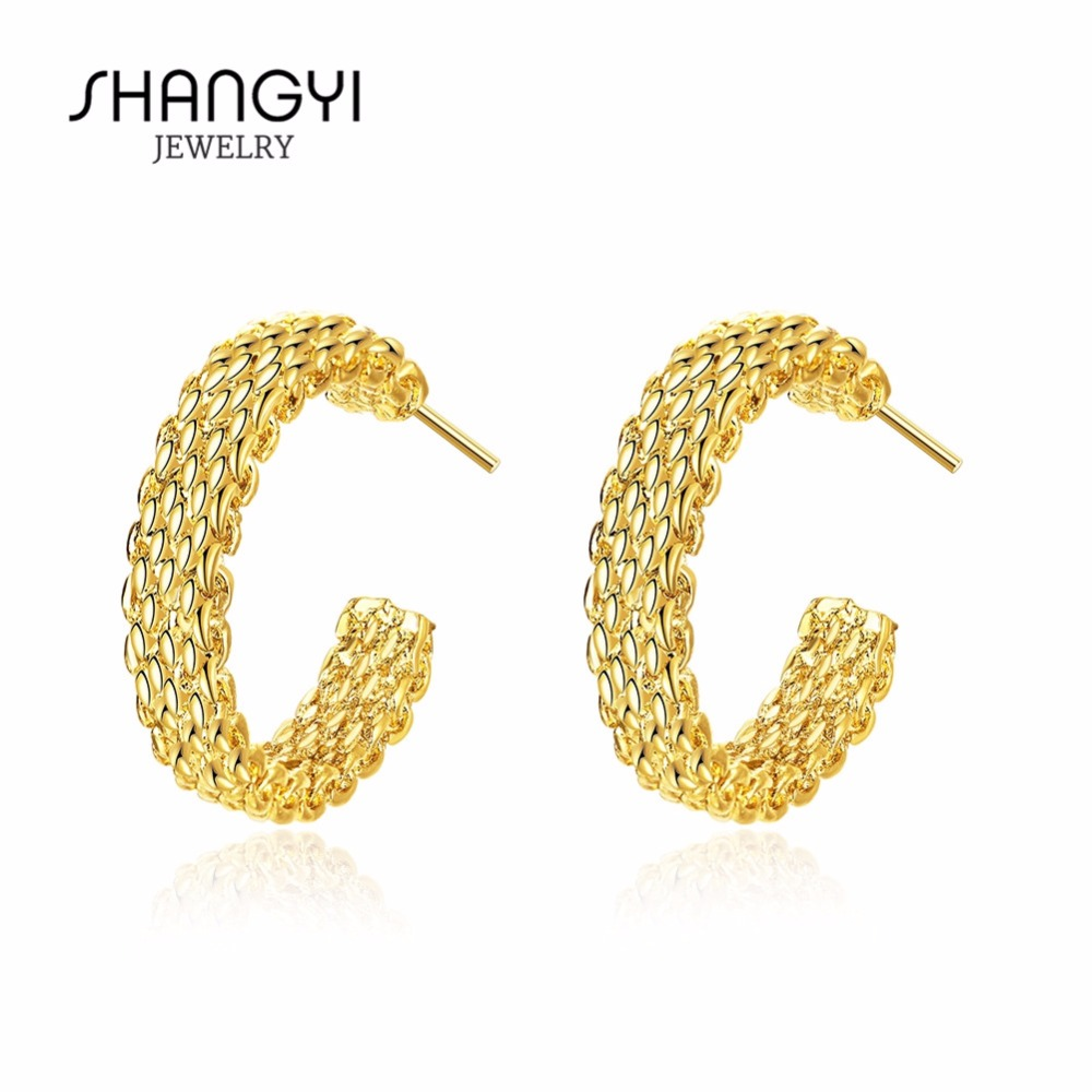 Hot Sale Fashion Jewelry 24K Solid Gold Plated Cz Stud Earring