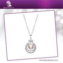 Whole Sale New Design Natural Freshwater Pearl Pendant Necklace with CZ Fashion Jewelry for Women
