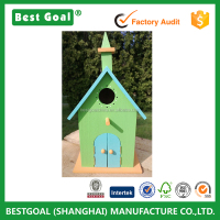 Custom small church shaped decorative wooden bird houses prefabricated wood houses