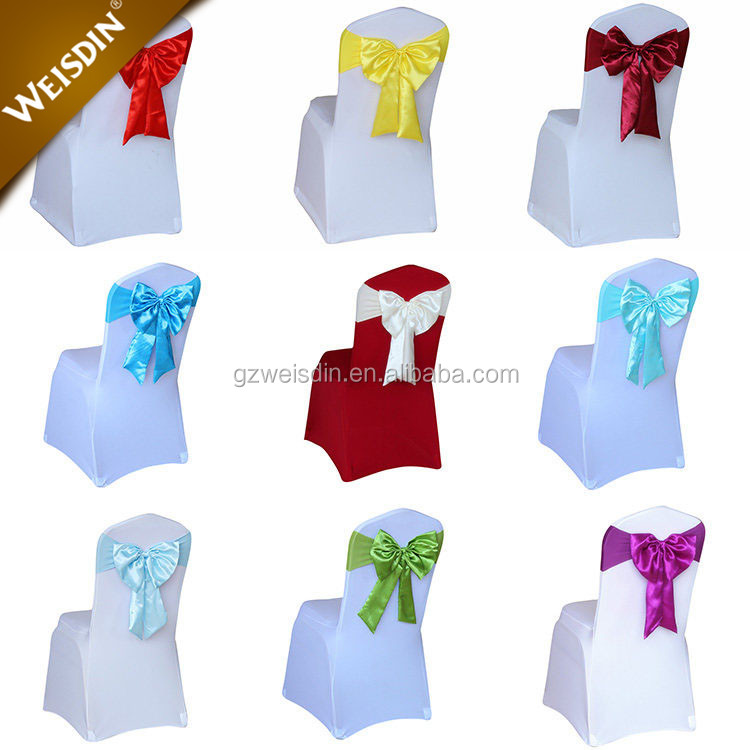 Fancy colored cheap chair cover decoration bow satin fabric wedding chair sashes