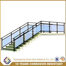 Exterior / outdoor metal stairs with stainless steel double stringer glass railing