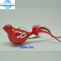 Handpainted cardinal Christmas glass bird ornament w/ feather tail wholesale