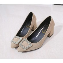New Model Satin Pointed High Heels Shoes Thick Heel Women's Shoes Low Cut With Fashionable Rhinestone Square Buckle