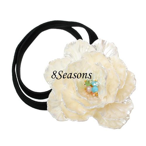 Black Off-white AB Color Acrylic Flower Girl Hair Elastic String Band Ponytail Holder Hairband 49cm