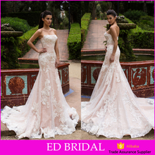Gorgeous Designer Strapless Color Lining Lace Robe De Mariage Wedding Dresses China For Sale