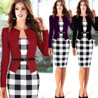 New 2015 Women Long Sleeve Classic Plaid Patchwork Formal Office Business Party Stretch Peplum Tunic Bodycon Pencil Dress S-XXL
