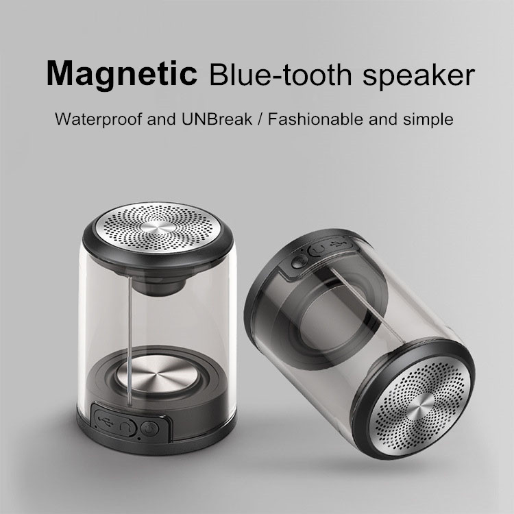 New Hot Sale True TWS Wireless Waterproof Magnetic Suction Loudspeaker Box Transparent Mini Bluetooths Stereo Speakers