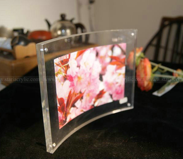 Acrylic certificate frame, Clear Curved Magnetic Picture Frame, Plexiglass Photo Holder