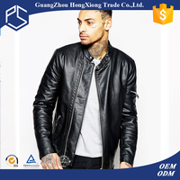 Hongxiong oem high quality custom logo round neck metal button zipper black pakistan leather jacket