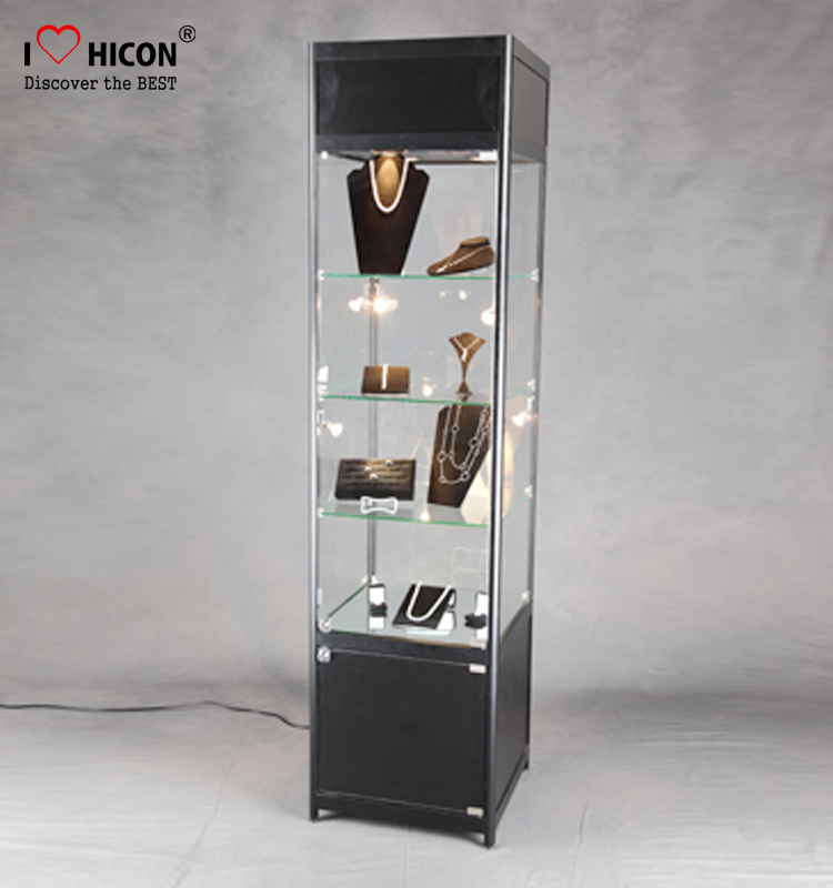 Movable Floorstanding Jewelry Store Fixtures High End Eco Bulletproof Glass Jewelry Display