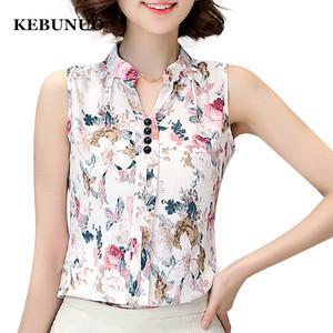 2018 Femininas Office Shirts Summer Chiffon Women Blouses Tops Floral  Printed Casual Sleeveless Clothing 54e151ff1cf7