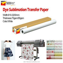sublimation transfer paper roll for textile/garment/sportswear/uniform