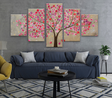 Abstract 100% Handmade 5 Panel Tree Oil Painting Canvas Art Wall Picture