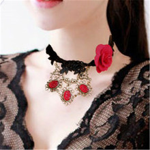 MYLOVE lace jewelry factory Red rose fabric necklace handmade jewelry MLJL125