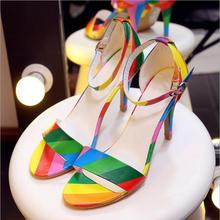 LM4041Q high-heel women sandals big size rainbow shoes sexy women sandal shoes