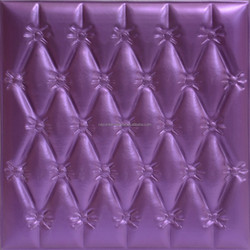 wavy Purple colored wall tile pu leather wall panel