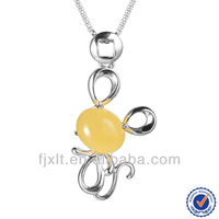 Cute Mouse Design 925 Sterling Silver Amber Pendant for Children Jewelry