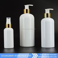 2oz 4oz 6oz 8oz 16oz shampoo white plastic bottle with golden pump dispenser