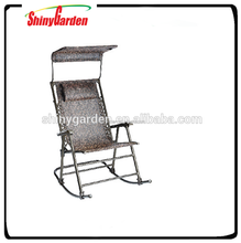 Deluxe Foldable Rocking Chair with Sun Shade