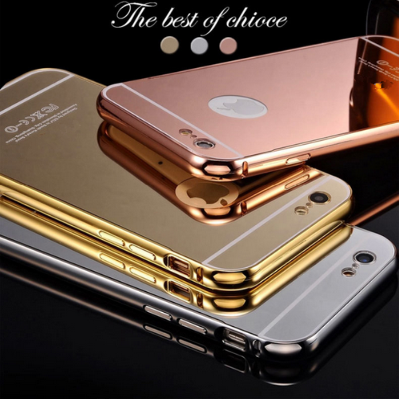 2016 newest Luxury aluminum ultra-thin mirror metal bumper smart mobile phone case for Apple Iphone 6 6s