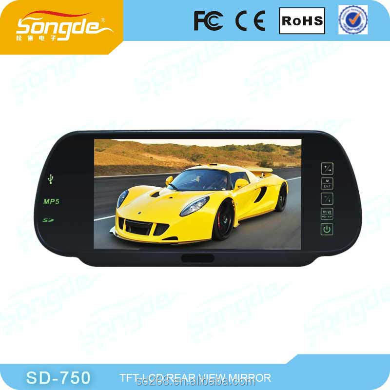 4.3inch In Car Rear View Mirror with Touch Buttons, Bluetooth , auto-dimming optional