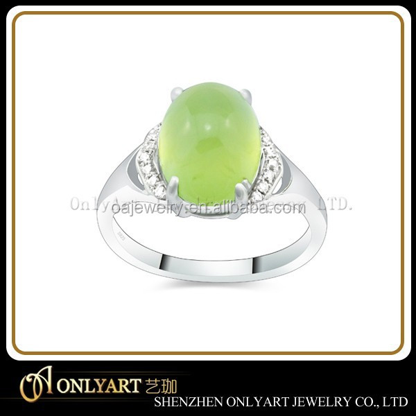wholesale simple elegant 925 sterling silver with jade stone ring for women jewelry factory price