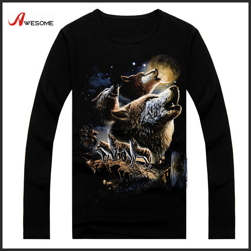 New arrival screen printing men long sleeve t-shirts
