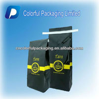 Coffee Bags Manufacturers Flat Bottom/Black Coffee Bag with Valve/Aluminum Foil Coffee Bags with Valve&Tin Tie