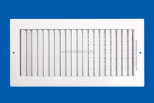 Adjustable face bars bright white steel air grille with multi-shutter damper