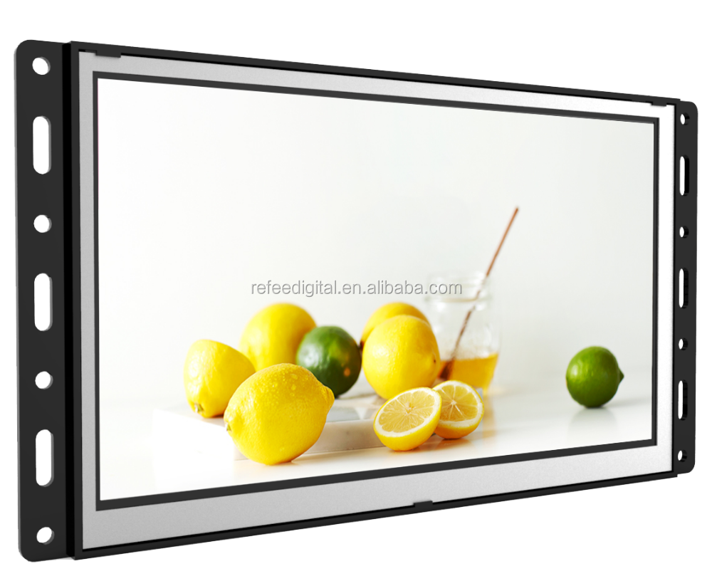 Pop new open frame video advertising monitor lcd totem dispaly on papar exhibition stand