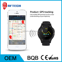 IP68 waterproof touch screen bluetooth phone watch, sport GPS hand watch mobile phone with heart rate test